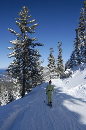 A girl is skiing at lake Tahoe ski resort among snow covered pines with lake itself in the background. photo