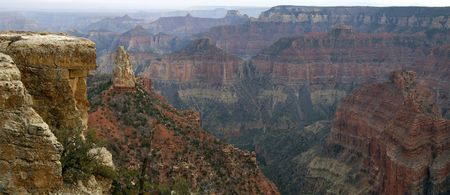 hayden: Panorama of Mount Hayden as seen from the Point Imperial on North Rim of Grand Canyon.