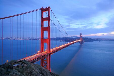 Golden Gate Bridge glows in the evening photo
