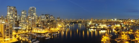 High-resolution stitched image of downtown Vancouver, Granville Bridge and Granville island at dusk. Shot from Burrards bridge. photo