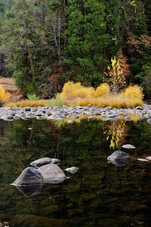 merced: Fall colors reflected in Merced river, Yosemite National Park, Sierra Nevada, California. Stock Photo