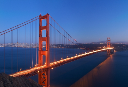 long shot: A stitched image of Golden Gate bridge that glows in the dusk  shot from Battery Spencer in Marin Headlands   Very rare colors - deep blue sky and water  Water is blurred because of long exposure
