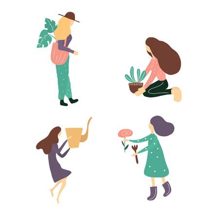 Girls working in the garden vector set illustration
