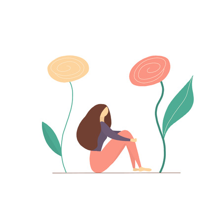 Girl sitting with a big flowers Vectores