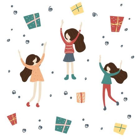 Happy friends girls in Christmas