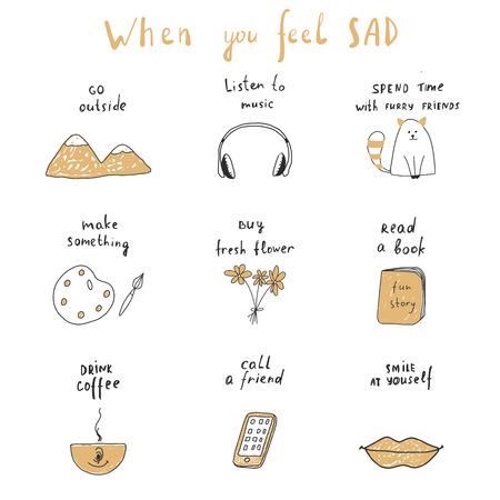 wenn du dich traurig fühlst Vektorgrafik