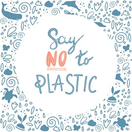 say no plastic vector Illustration