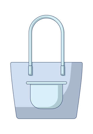 A simple blue and roomy shopper for city and beach walks. A fashionable bag with long handles and a front pocket. Flat vector illustration