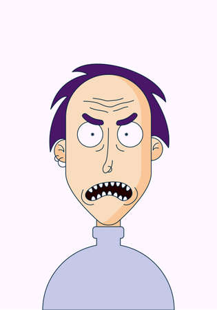 Vector illustration of a cartoon character in a flat style. An angry man with smoothed hair in a turtleneck and piercings.