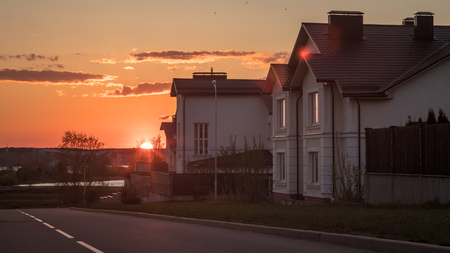 Residential cottages on the sunset
