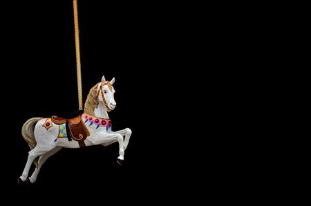 Carousel Horse on black background 免版税图像