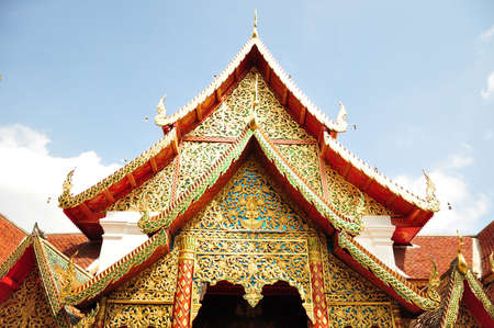 reconstruct: The roof of the temple, Phra That Doi Suthep, Chaing Mai province, north of Thailand