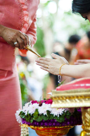 Water blessing ceremony in Thailand photo