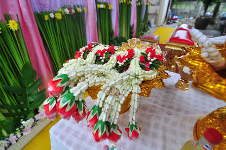 golden tray flower use for Thai wedding ceremony  photo