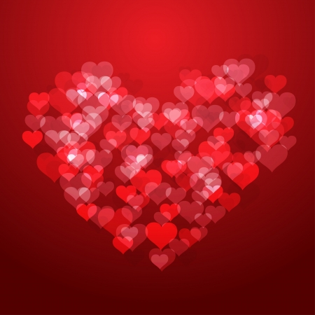 february 14th: Shiny red hearts background Illustration