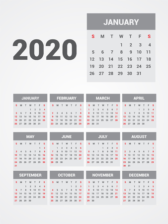 Calendrier 2020. EPS 10.