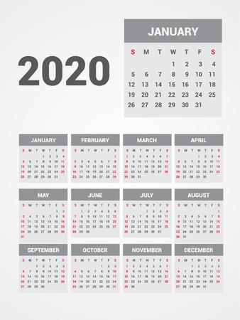Kalender 2020. EPS 10.