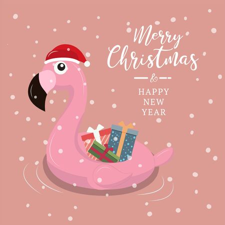 swimming ring flamingo with christmas background.
