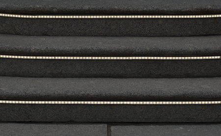 Stone steps with luminous strips