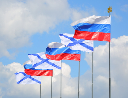Russian state and Andrews flags