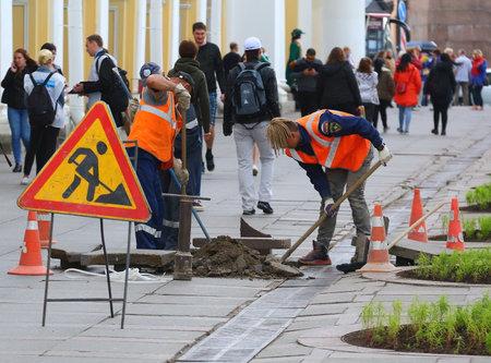 Sidewalk repair, Nevsky prospect St. Petersburg Russia June 2018