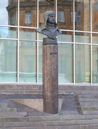 The monument of the Soviet pilot Chkalov metro station Chkalovskaya in Saint-Petersburg Russia July 2018