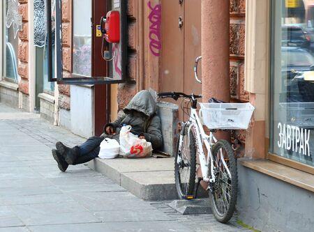Homeless beggar on the street