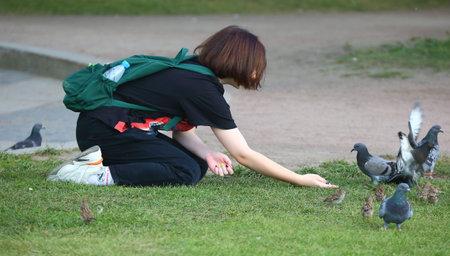 A girl feeds birds in the green grass, Dvortsovaya embankment, Saint Petersburg, Russia, August 2020