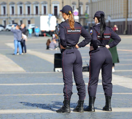 Female students of the police College on the city square, Palace square, Saint Petersburg, Russia, August 2020