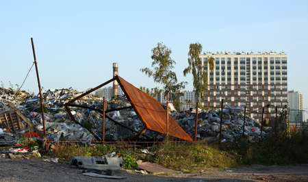 Garbage dump on the outskirts of the city Banco de Imagens