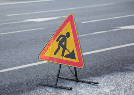 Portable road sign warning of road works