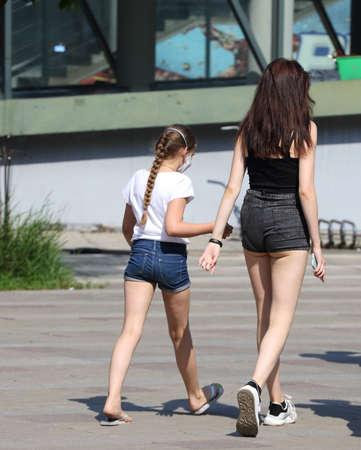 Girl in short shorts on the street