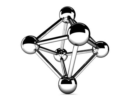 metallic model of molecule isolated on white Stock Photo