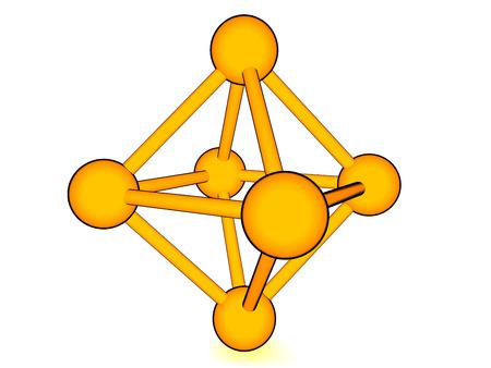 cartoon model of molecular lattice isolated on white