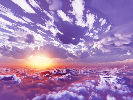 beautiful view above cloudscape and mountains Stock Photo