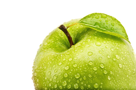 closeup isolated juicy green apple