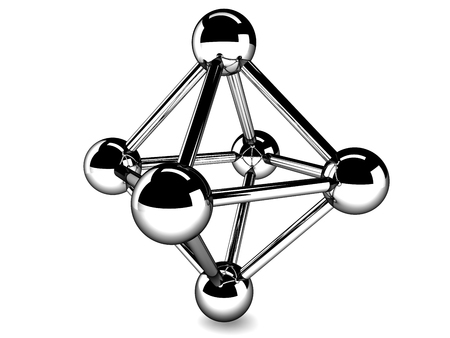 nodal: metallic model of molecule isolated on white Stock Photo