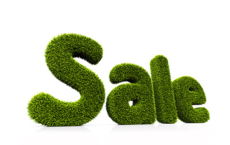 grassy: Green grassy symbol of sale isolated on white