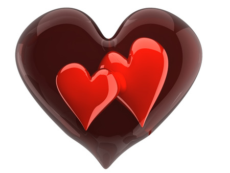 glass heart: two beautiful glossy hearts inside glass heart Stock Photo