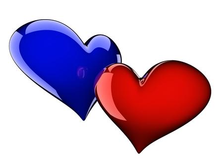 corazones azules: dos corazones brillantes aislados en blanco