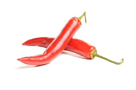 hot peppers: closeup isolated red hot peppers