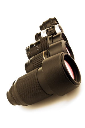 close-up photo lenses isolated on white Stock Photo
