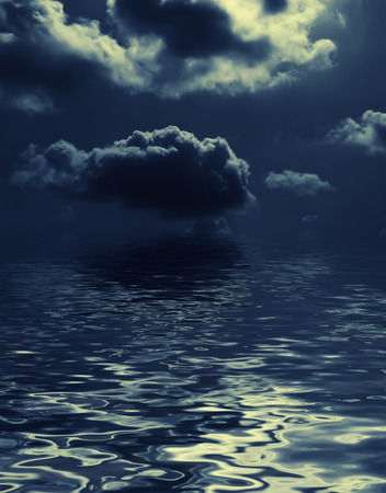 nightly: mysterious nightly clouds over the water