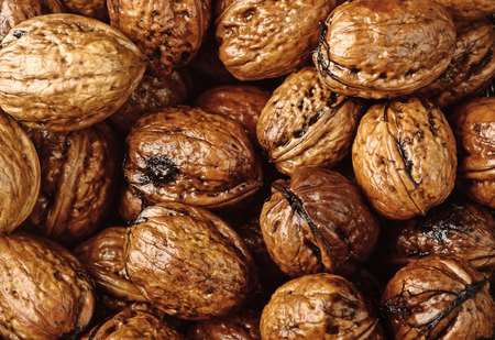 background of closeup wet walnuts