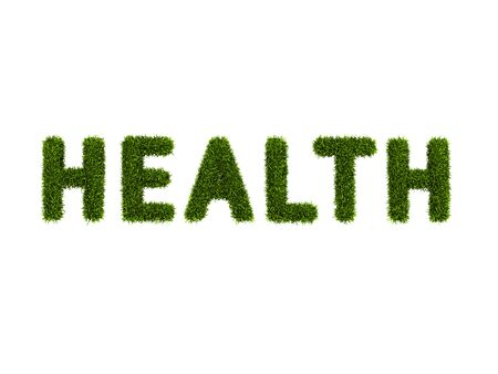 conceptual word health covered grass Stock Photo