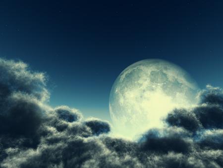 Magic moon in the night sky Stock Photo