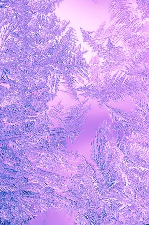 Beautiful Closeup Winter Window Pane Coated Shiny Icy Frost Patterns