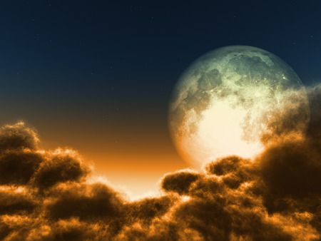 Magic moon in the night sky Stock Photo