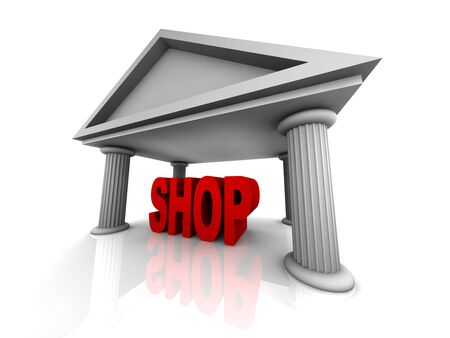 3d concept of shop isolated on white