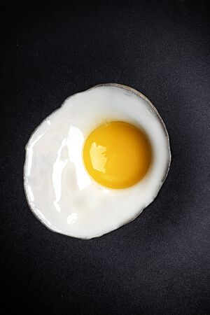Close up of fried egg on the pan surface